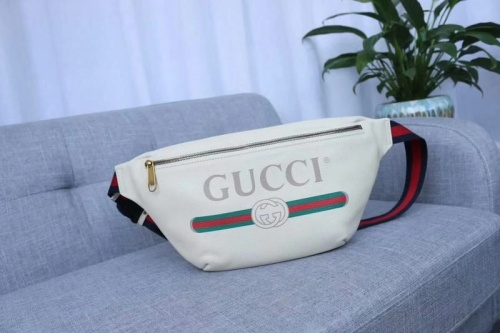 Double GG logo printed leather waist bag chest bag