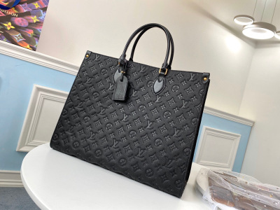 Black embossed ONTHEGO shopping bag