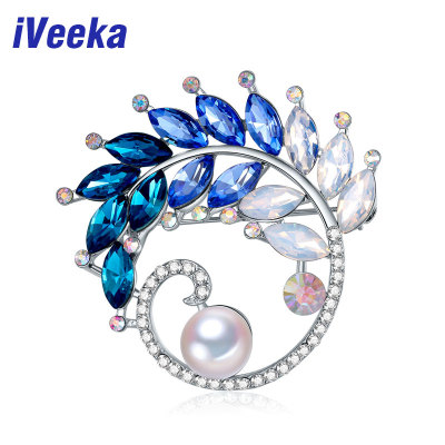 test-Veeka Luxury Brooches Big Freshwater Pearls Fine Jewelry with Sparking Blue Crystal Gold and Silver Two Color for Choice