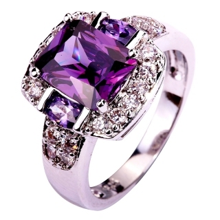 lingmei Fashion Jewelry Amethyst Multi-Color AAA Silver Ring Size 7 8 9 10 Charming Women Party Gift Wholesale 576R