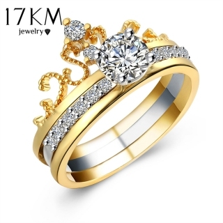 17KM Hot sale Fashion Luxury Gold Color Crystal Zircon Crown Women Engagement Jewelry Female Wedding Finger Flower Ring