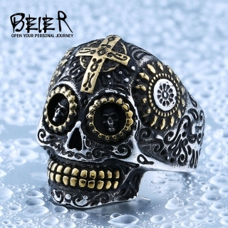 Beier 316L Stainless Steel ring skull biker men Ring hot sale Man's fashion jewelry BR8-327