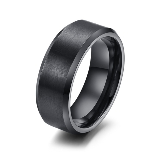 Vnox 316L stainless steel men ring 8mm black & silver & gold plated rings for women men jewelry