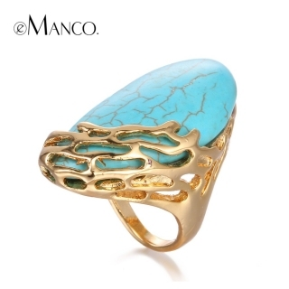 eManco Natural Stone Ethnic Vintage Geometric Statement Large Rings for Women Turquoise Gold Plated Brand Jewelry in 2016
