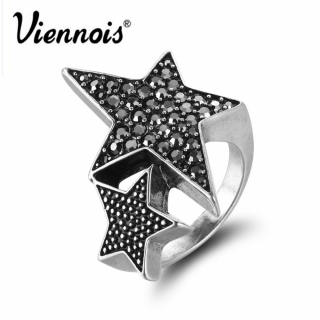 New Viennois Silver Plated Full Star Rings for Woman Trendy Rhinestone Party Rings Fashion Birthday Gift