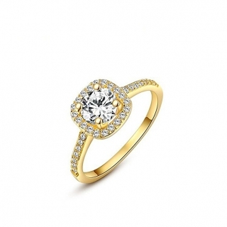 Winter.Z Womens Jewelry Circular Bead Square Ring Diamond 18K Gold Ring Wedding