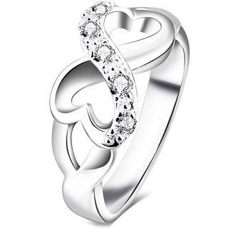BOHG Jewelry Womens 925 Sterling Silver Plated Cubic Zirconia CZ Heart Infinity Symbol Wedding Ring