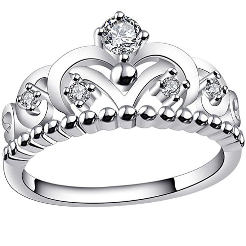 BOHG Jewelry Womens 925 Sterling Silver Plated Cubic Zirconia CZ Princess Crown Tiara Ring Wedding Band