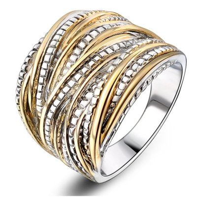 中文-Mytys 18k Gold Plated Vintage Interwined Two Tone Antique Design Fashion Rings