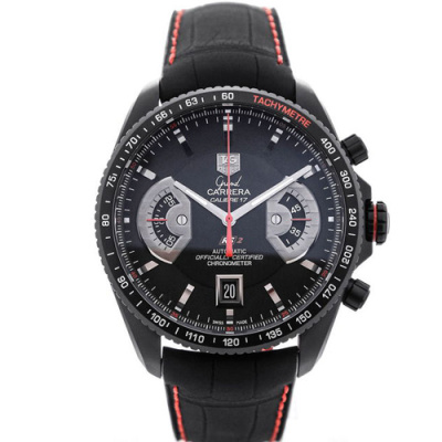 TAG Heuer Grand Carrera Automatic Chronograph Black Dial Red Details Calibre 17